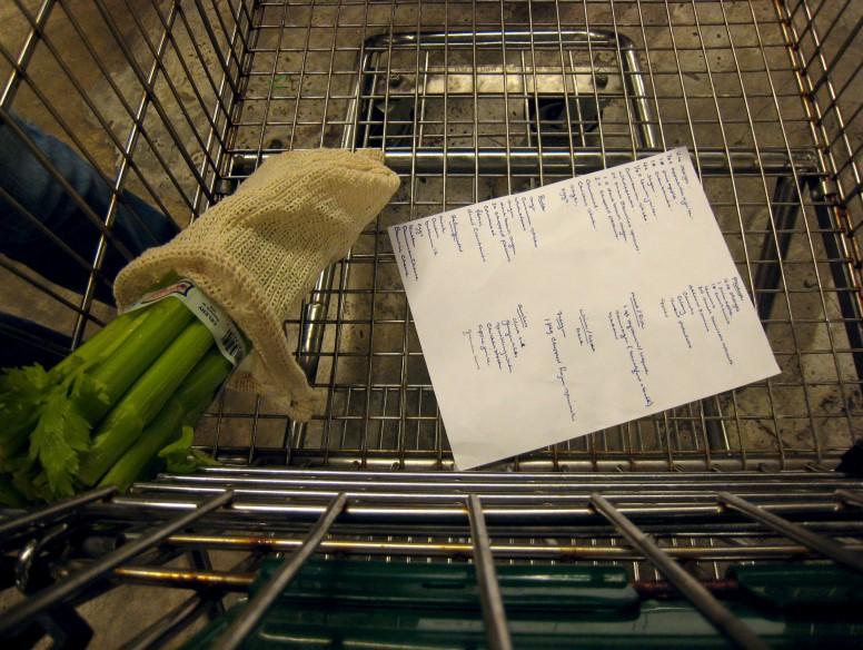 Grocery shopping for Thanksgiving dinner.